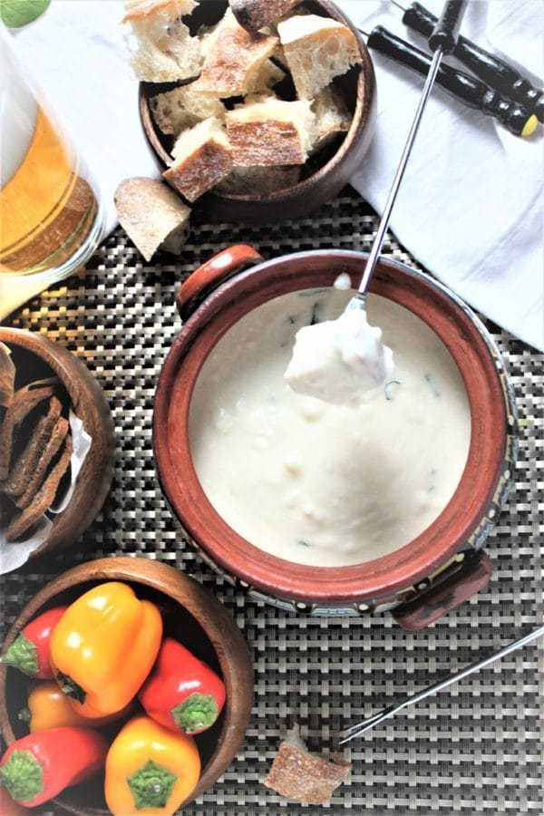 Feta Cheese and Beer Fondue