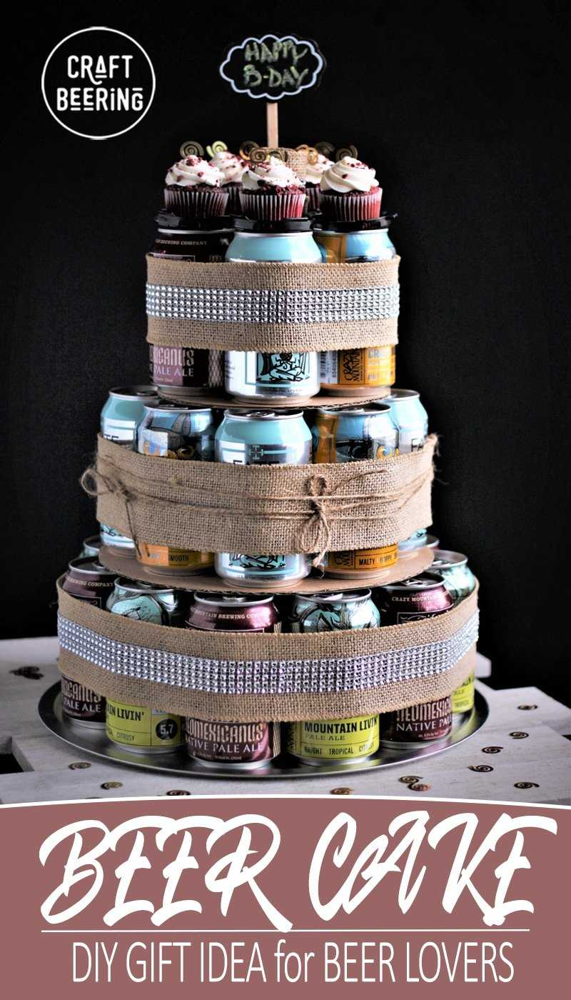 Craft beer can cake complete with cupcakes. #beercake #beercancake #craftbeercake