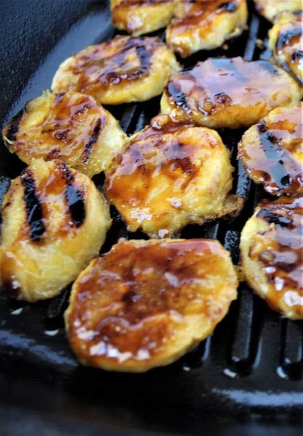 Beer glazed grilled plantains - glaze one side while still grilling