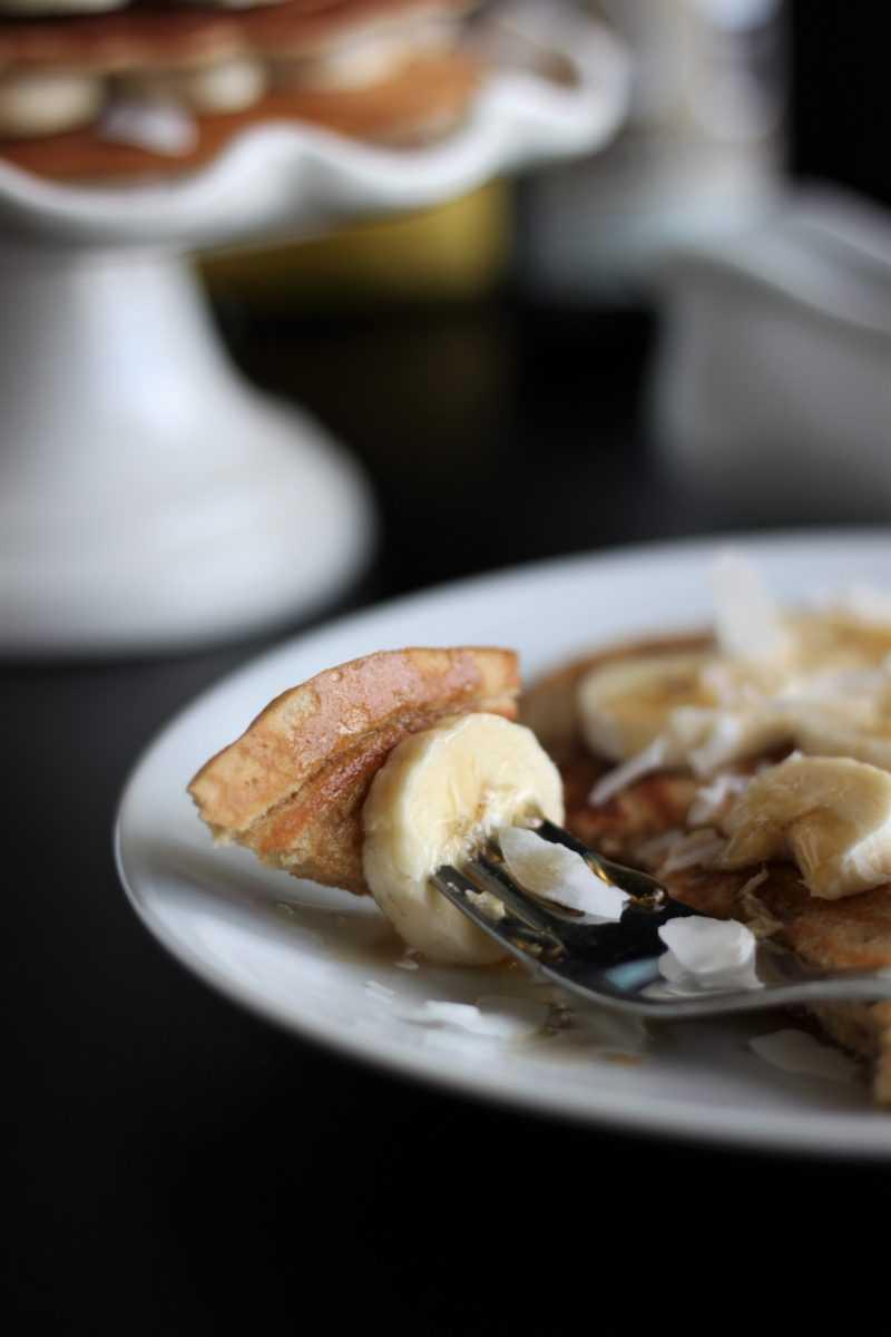 Coconut Porter Pancakes Bite