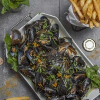 Belgian Wit Mussels with Coconut Milk (and Curried Fries)