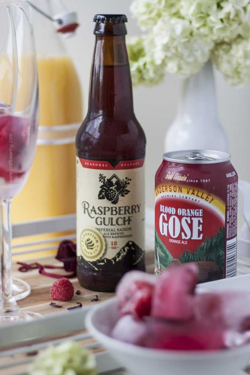 Beermosa with Raspberry Gulch Saison and Blood Orange Gose
