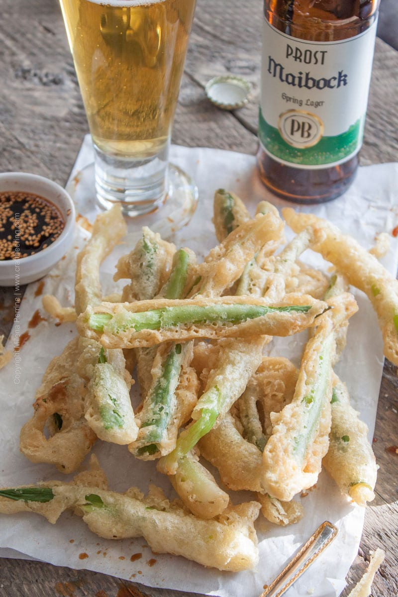 Tempura Green Onions with Maibock lager and sesame oil in the beer batter.