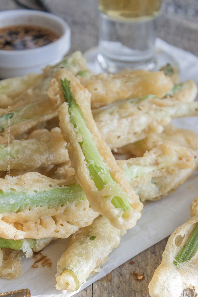 Light and crispy beer tempura green onions. Maibock lager in the batter is the key to the flavor and texture!