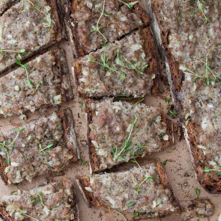 Princessa Sandwich - open faced artisan bread sandwich with ground pork and spices. Beer's best friend!
