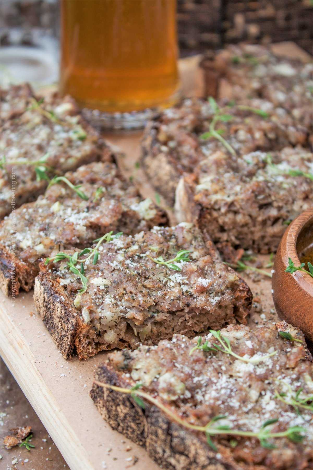 The Princessa sandwich - a Bulgarian favorite and a great partner to good beer. Open faced sandwich made with rustic bread smothered with a tasty ground pork, summer savory, cumin and onion mixture. You need this!