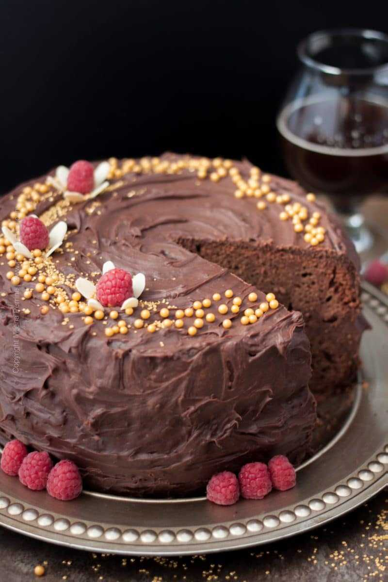 Chocolate Beer Cake with Raspberry Ale and Raspberries