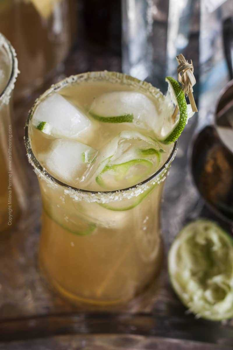 Session IPA Beergarita with Jalapeno and Lime Ice Cubes