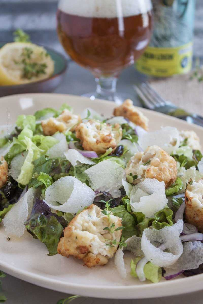 Asian Pear Salad withHoney Pale Ale Dressing and Goat Cheese Fritters