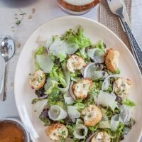 Asian Pear Salad with Honey Pale Ale Dressing (and Goat Cheese Fritters)
