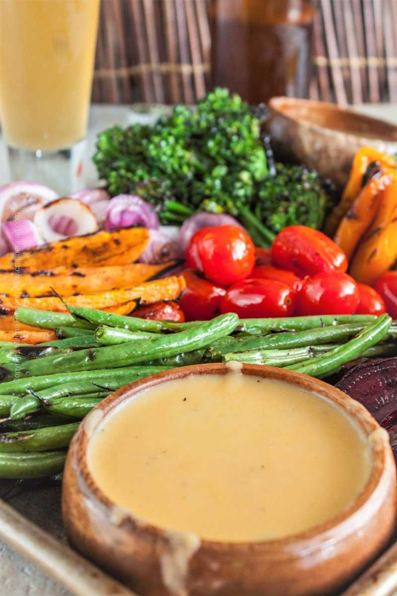 Beer Cheese Dip with Grilled Veggies