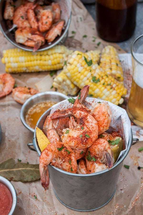 Beer boiled peel and eat shrimp, serve in cute individual buckets:)