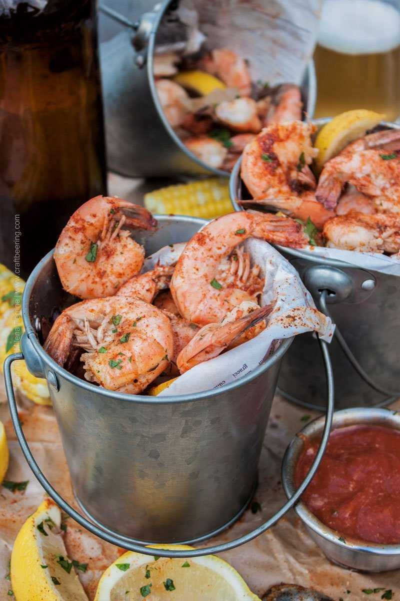 Beer boil shrimp - peel and eat, serve with cocktail sauce and drawn butter