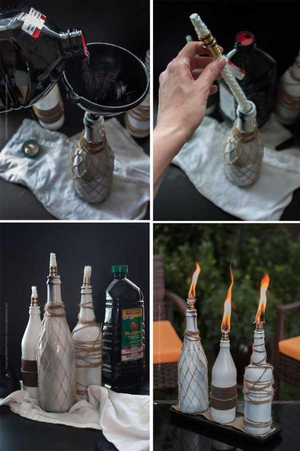 Beer bottle tiki torch centerpiece (steps)