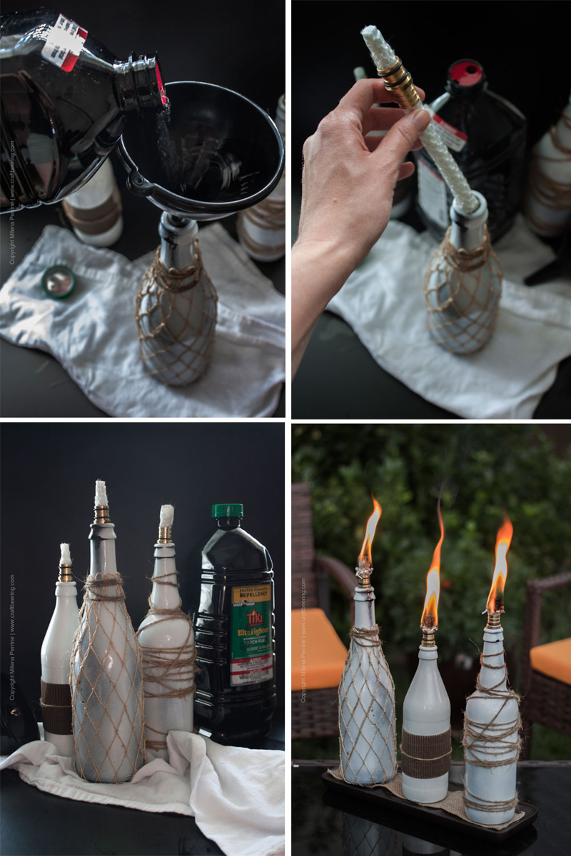 Beer bottle tiki torch centerpiece (steps)