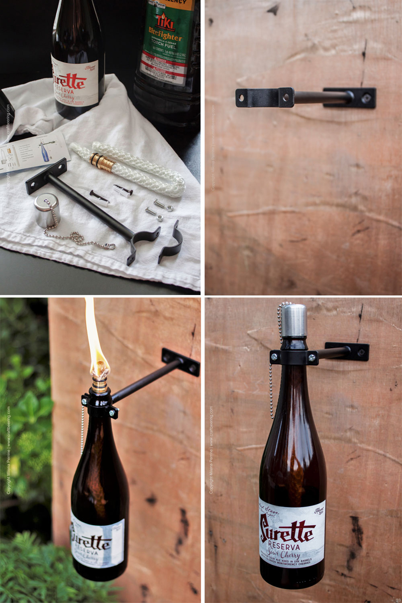 Mounting a beer bottle tiki torch with kit