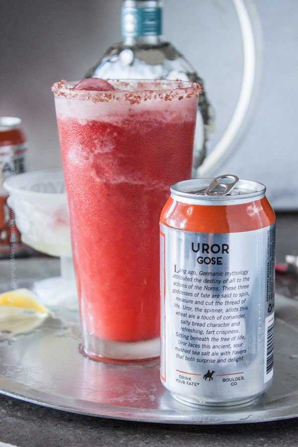 Strawberry sorbet gose margarita