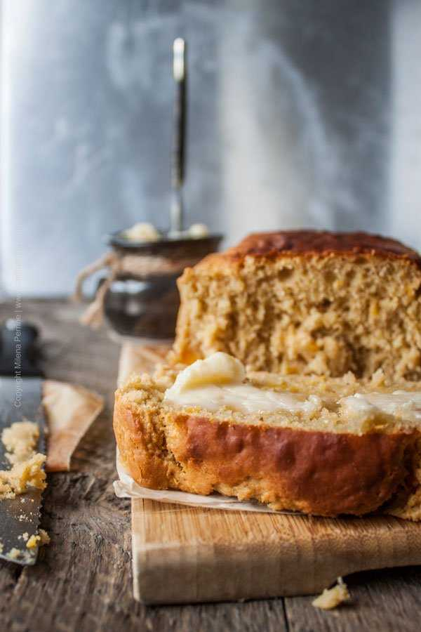 Peach ale breakfast loaf with honey butter. Best beer bread ever.