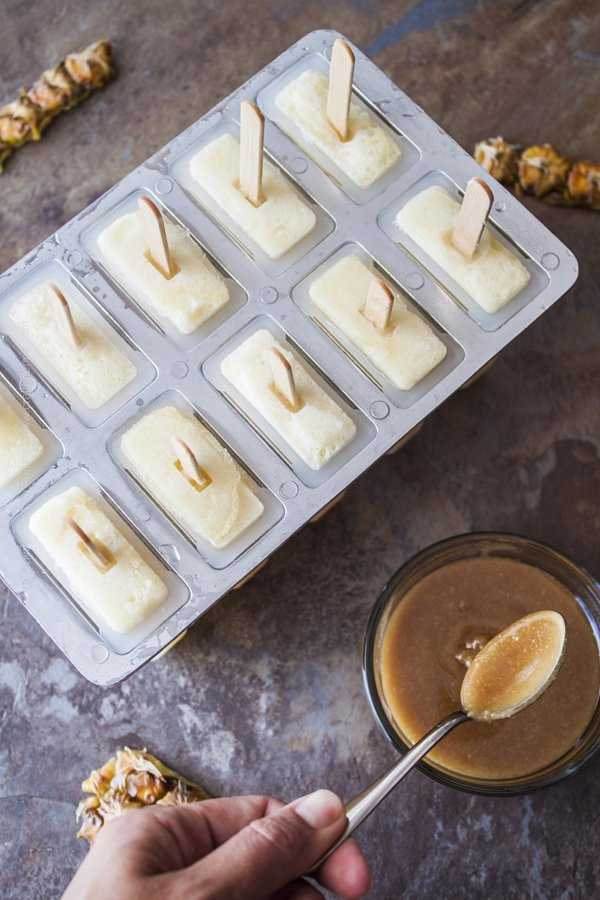 Pineapple IPA Popsicles in mold with Hops Caramel Salt