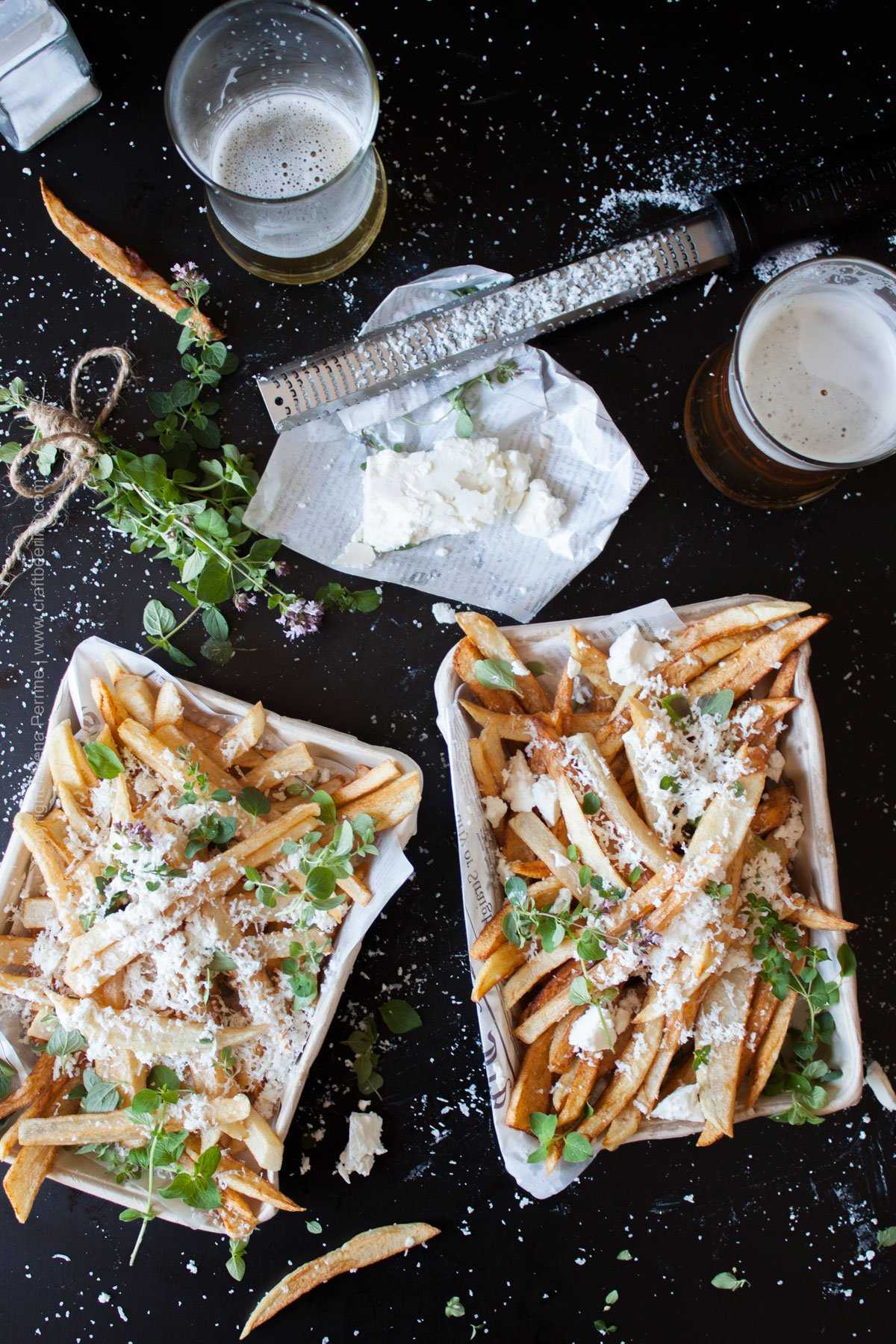 Hand cut fries with feta cheese and oregano. #handcutfries