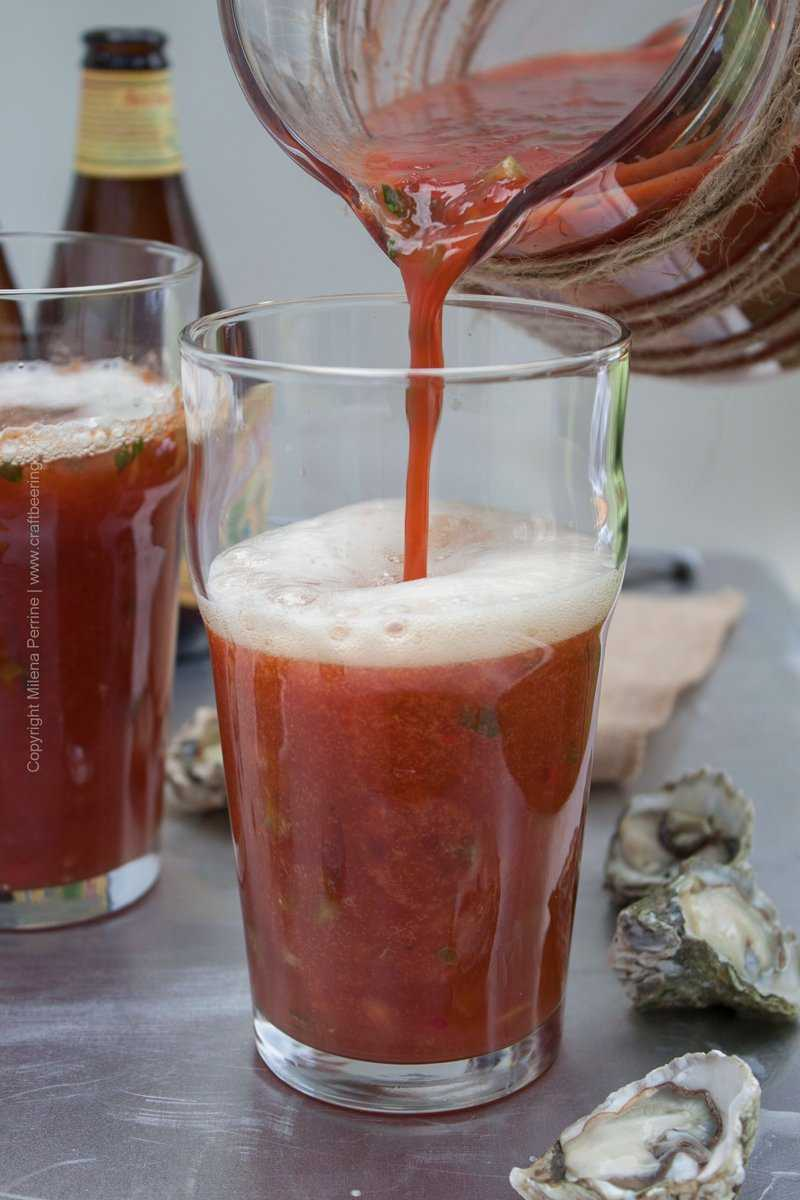 Bloody Roman mix poured over Anchor Steam
