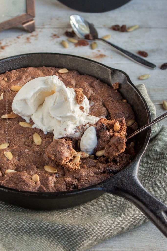 Spent Grain Skillet Cookie (with Raisins, Pumpkin Spice & Pumpkin Seeds)
