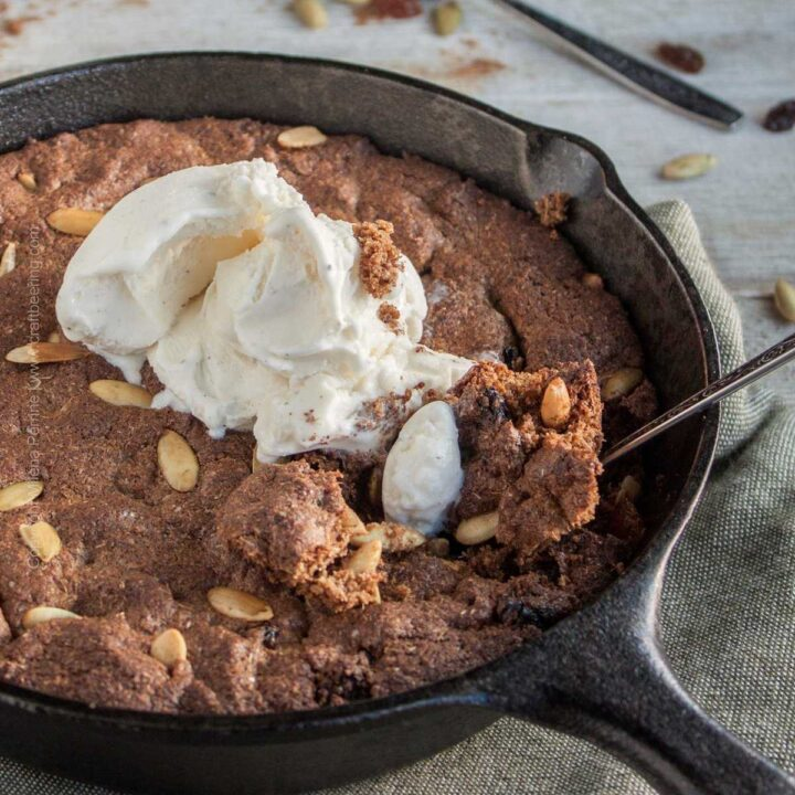 Spent grain skillet cookie. Skillet cookie with pumpkin seeds and pumpkin spice. Ice cream recommended.