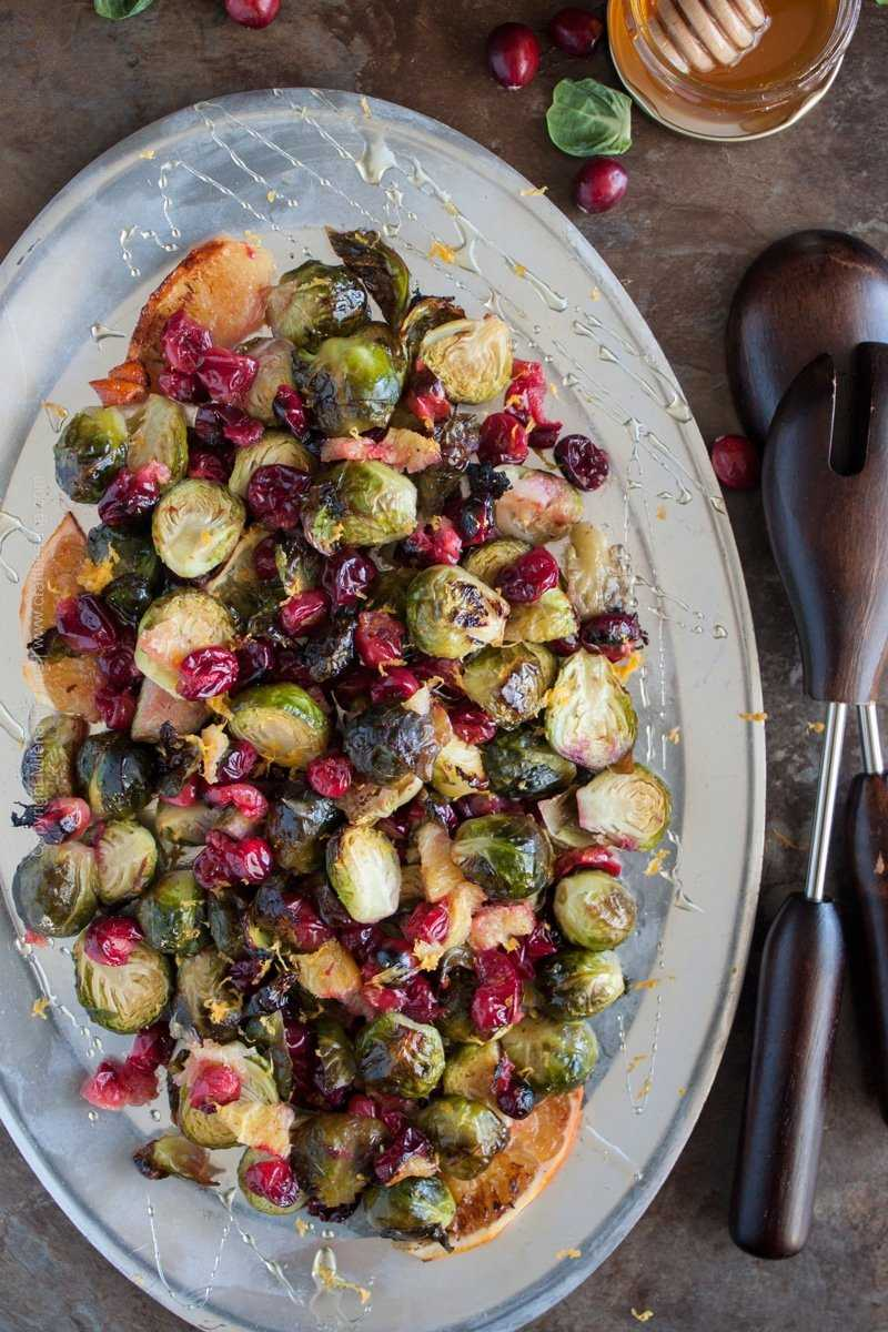 Beer butter roasted cranberries and Brussels sprouts with Belgian Tripel, honey and orange zest.