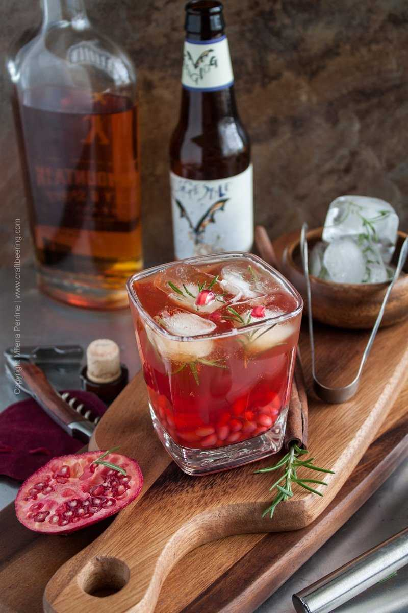 Bourbon pale ale cocktail with pomegranate