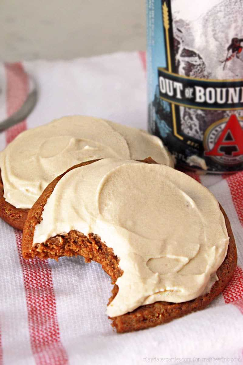 Molasses Stout Cookies with Stout Infused Cream Cheese Frosting. Out of Bounds:)