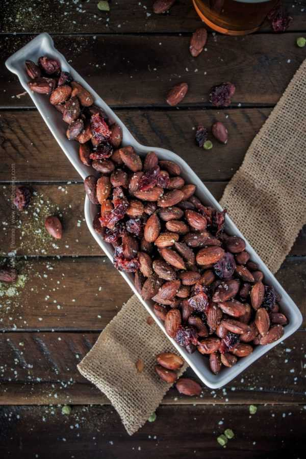 Roasted almonds and dried cranberries coated in extra virgin olive oil and hops salt. #roastedalmonds