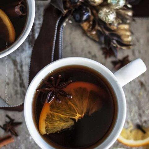 Mulled beer with brandy and spices further flavored by citrus.