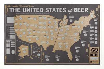 Beer map of the US beer gift for him