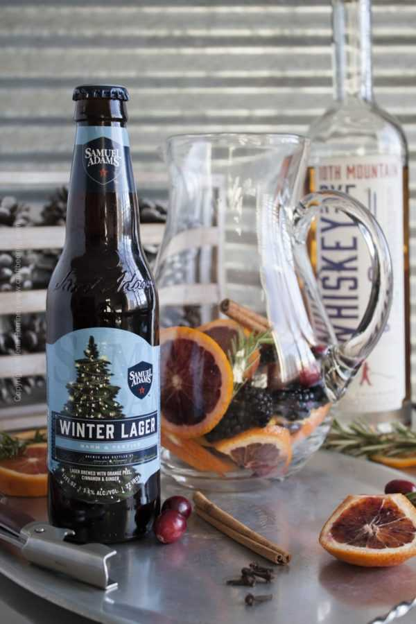 Winter beer sangria with Sam Adams winter lager (spiced bock). #beersangria #winterbeersangria