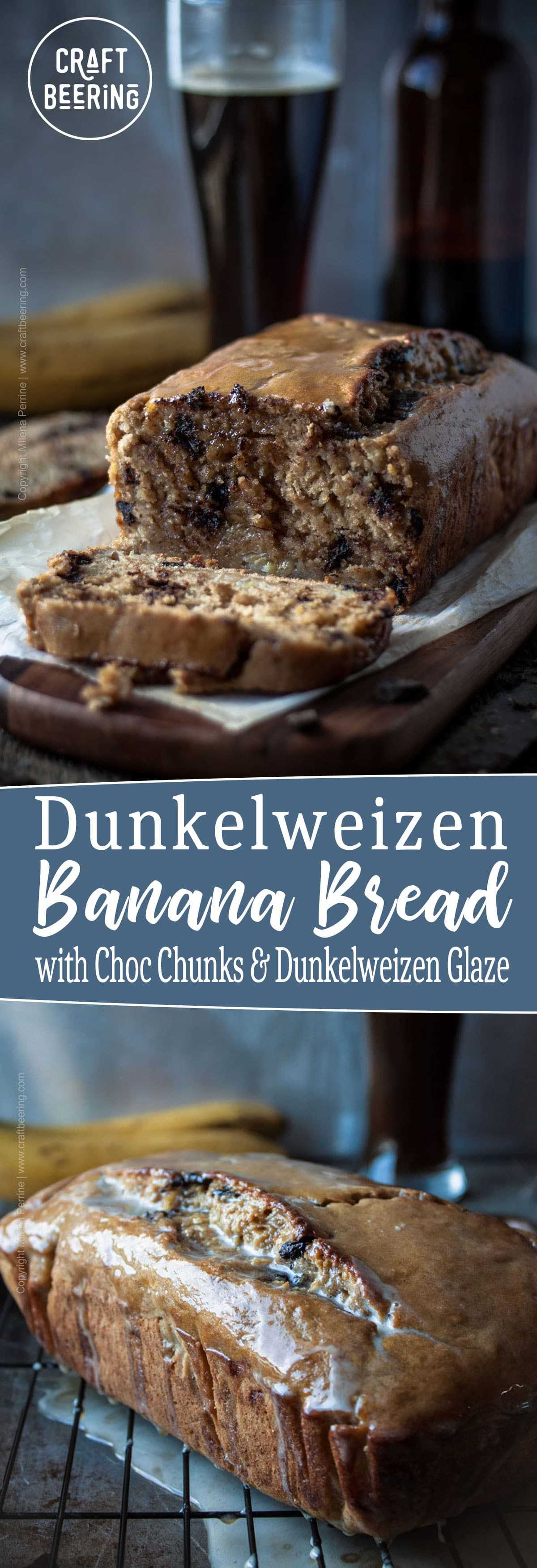 Beer Banana Bread Dunkelweizen Beer Glaze and Choc Chips #dunkelweizen #beerbread #beerbananabread #bananabread #beerglaze #dunkelweizenglaze