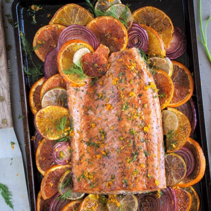 Citrus salmon with beersamic glaze. #beersamic #citrusalmon #glazedsalmon #cookingwithbeer #beersamicrecipes #salmonrecipe