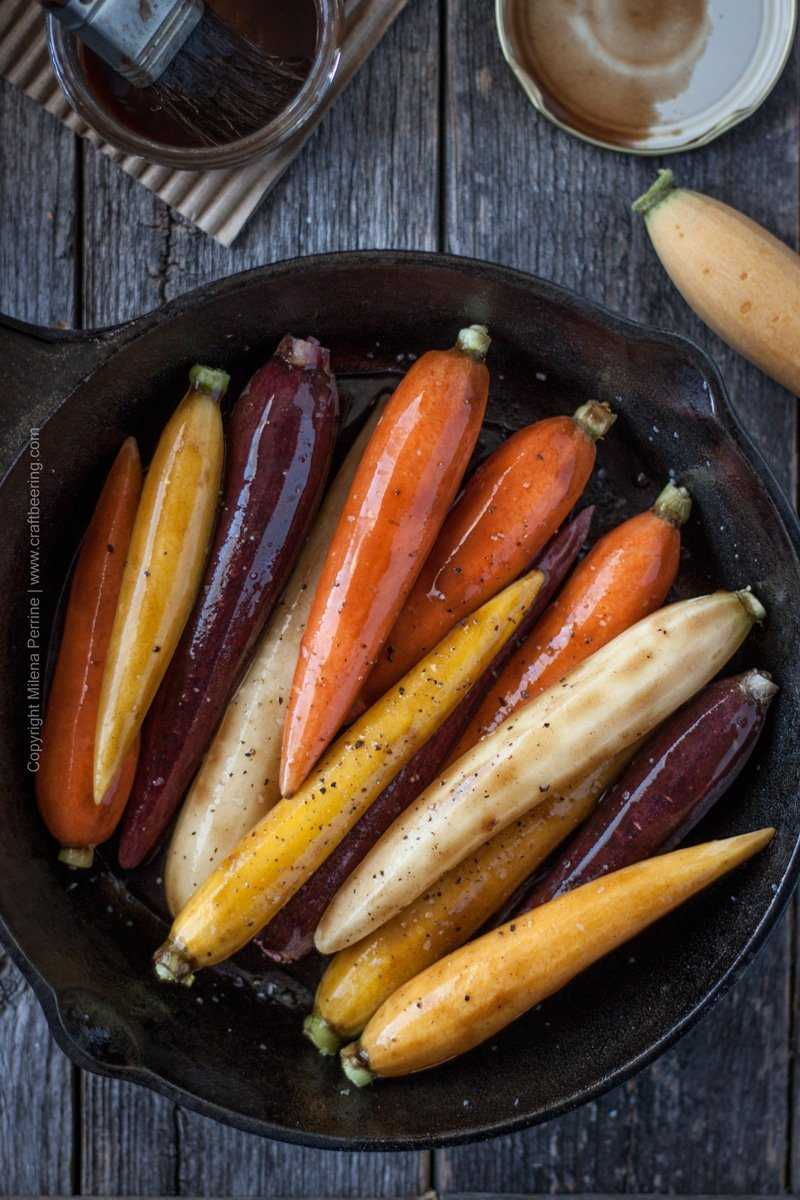 Beersamic brushed over carrots prior to roasting. Brush once more after ten minutes of roasting and continue to roast until soft and beginning to caramelize. #beersamic