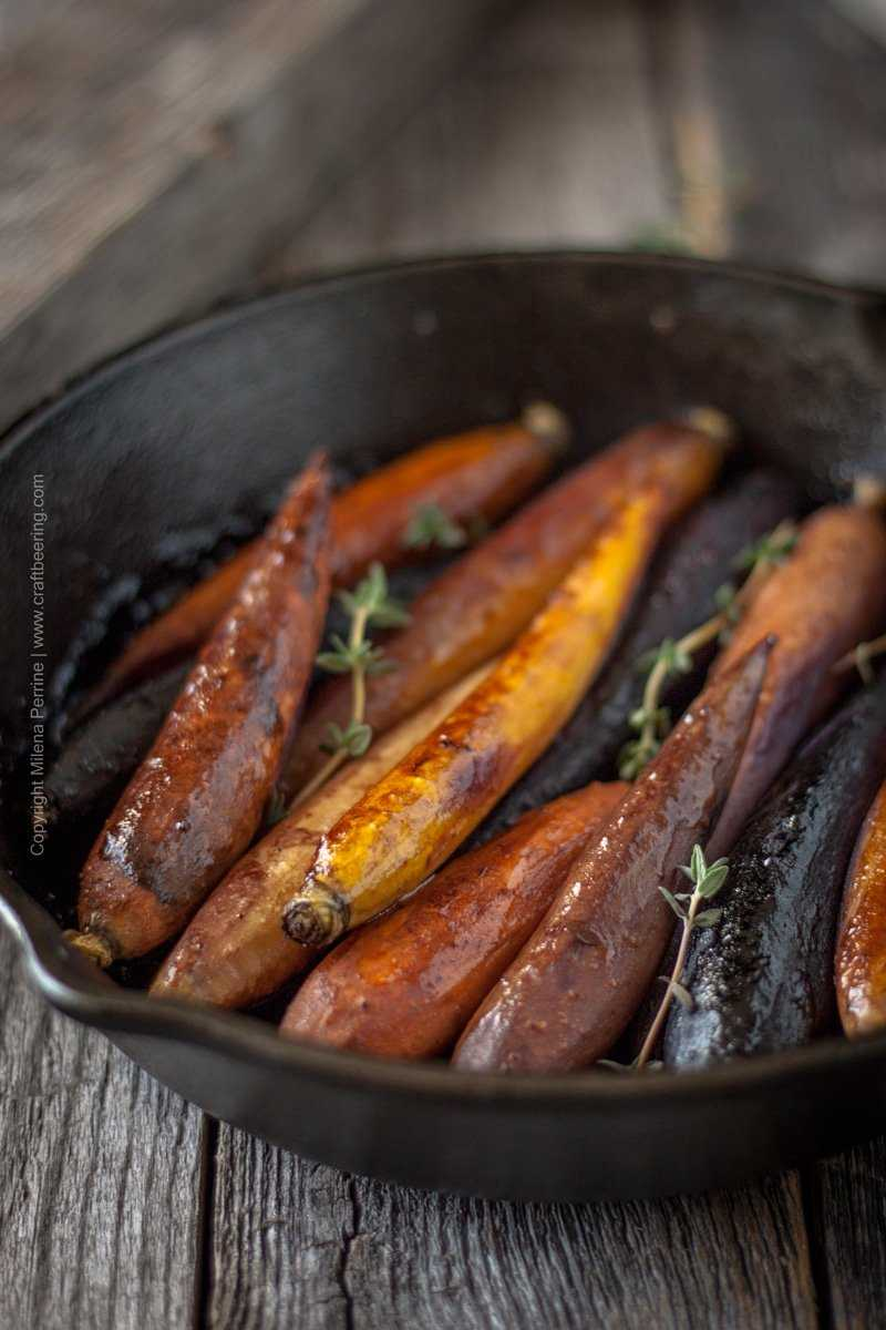 Beersamic roasted carrots in cast iron pan. #beersamic #roastedcarrots #cookingwithbeer #beersamicglaze
