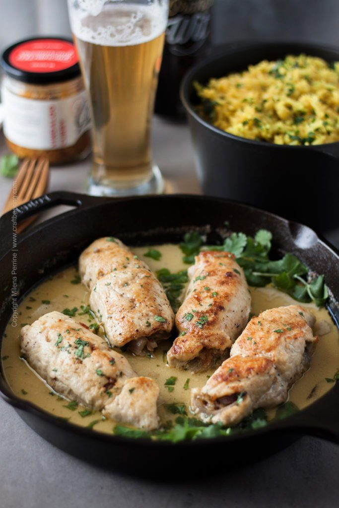 Witbier Chicken Roulades with Vindaloo Garlic & Coconut Milk