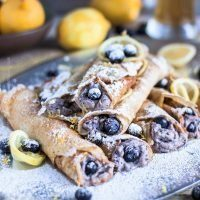Beer Crepes with Hefeweizen, Ricotta, Blueberries & Lemon
