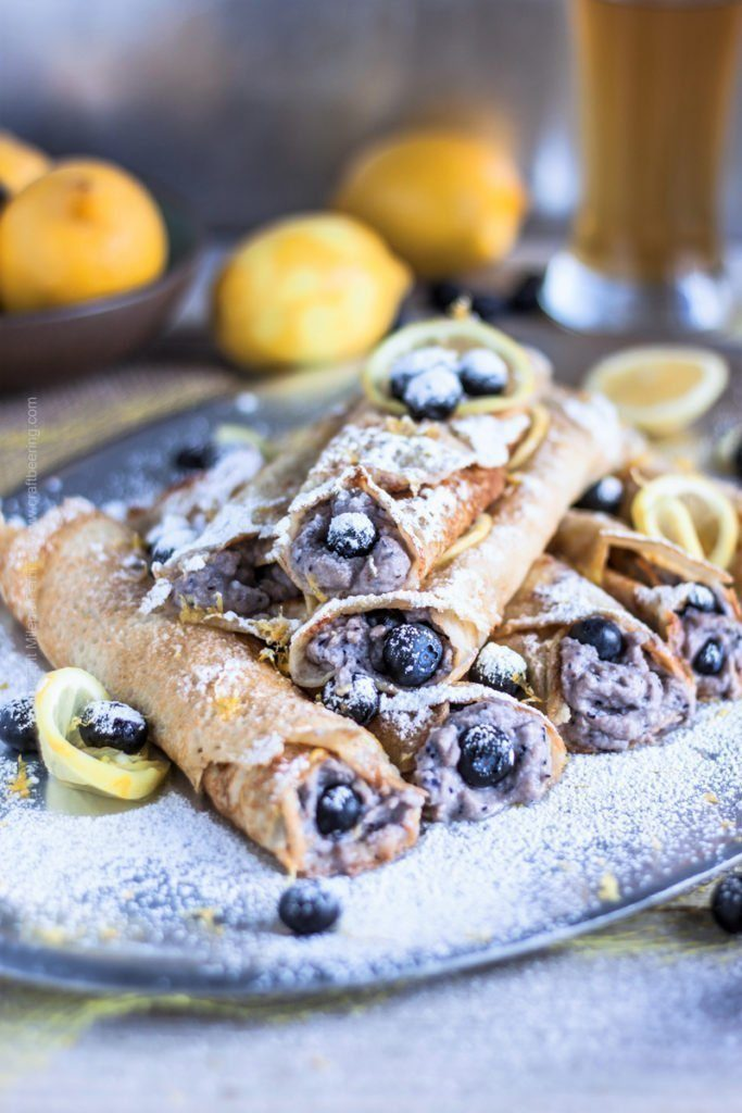 Hefeweizen Crepes with Ricotta, Blueberries & Lemon
