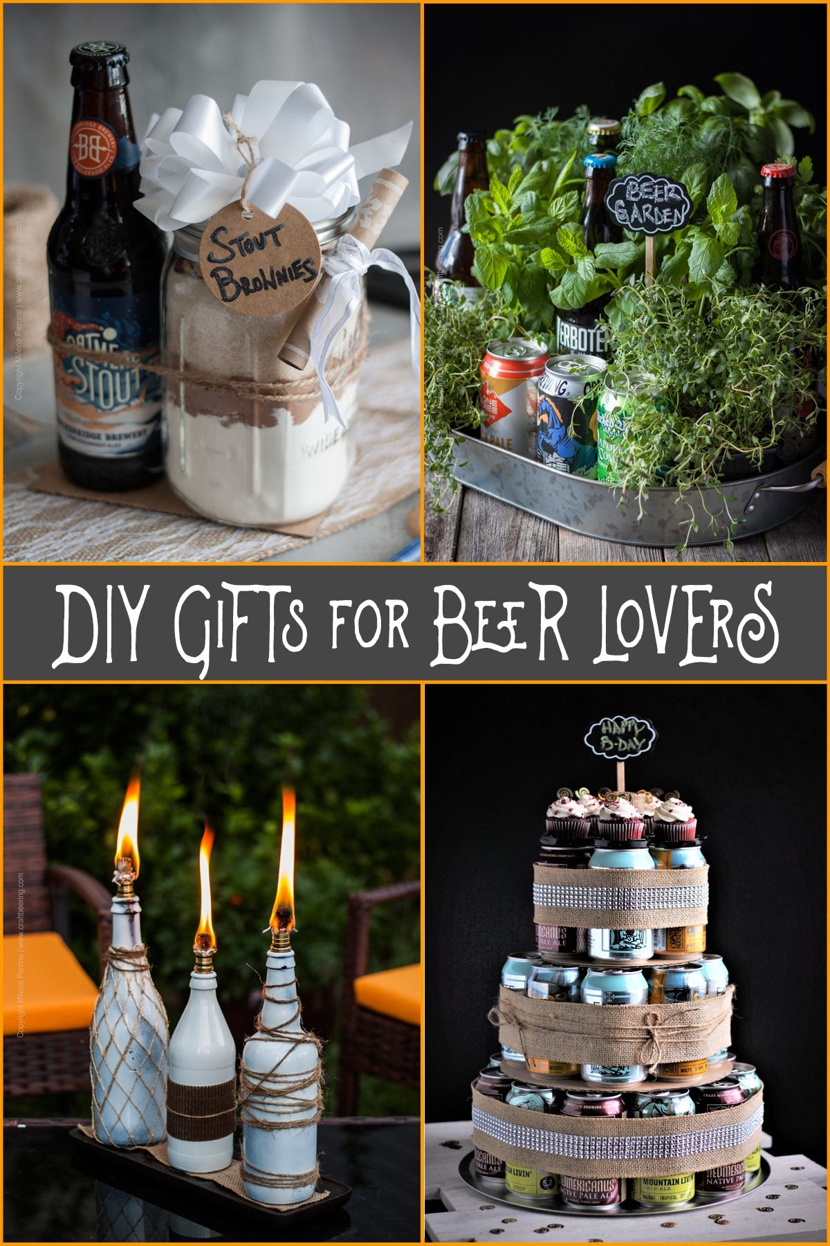 DIY Gifts for Beer Lovers | Beer themed gifts you can make that they will love! Beer cake, beer bottle tiki torch, beer brownie mix, beer garden PLUS MORE! #beergift #beergiftidea #fathersdaygift #birthdaygift