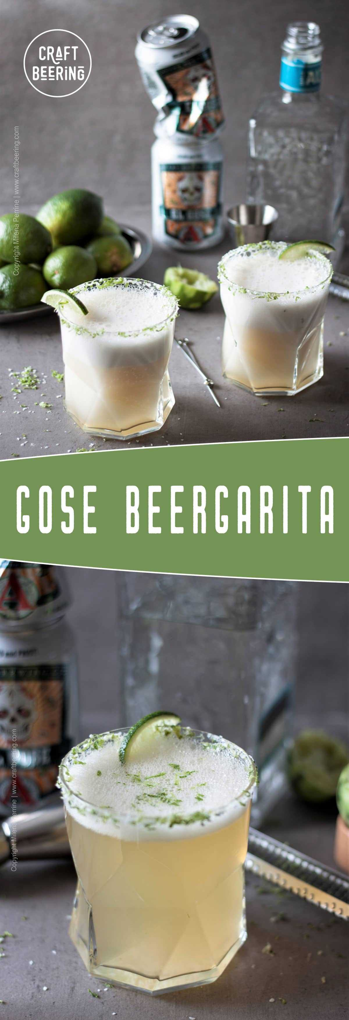 Gose margarita or if you'd rather beergarita is a sprightly beer cocktail with sour gose style ale and tequila. #beercocktail #beermargarita #beergarita #gosemargarita #gose #tequilacocktail