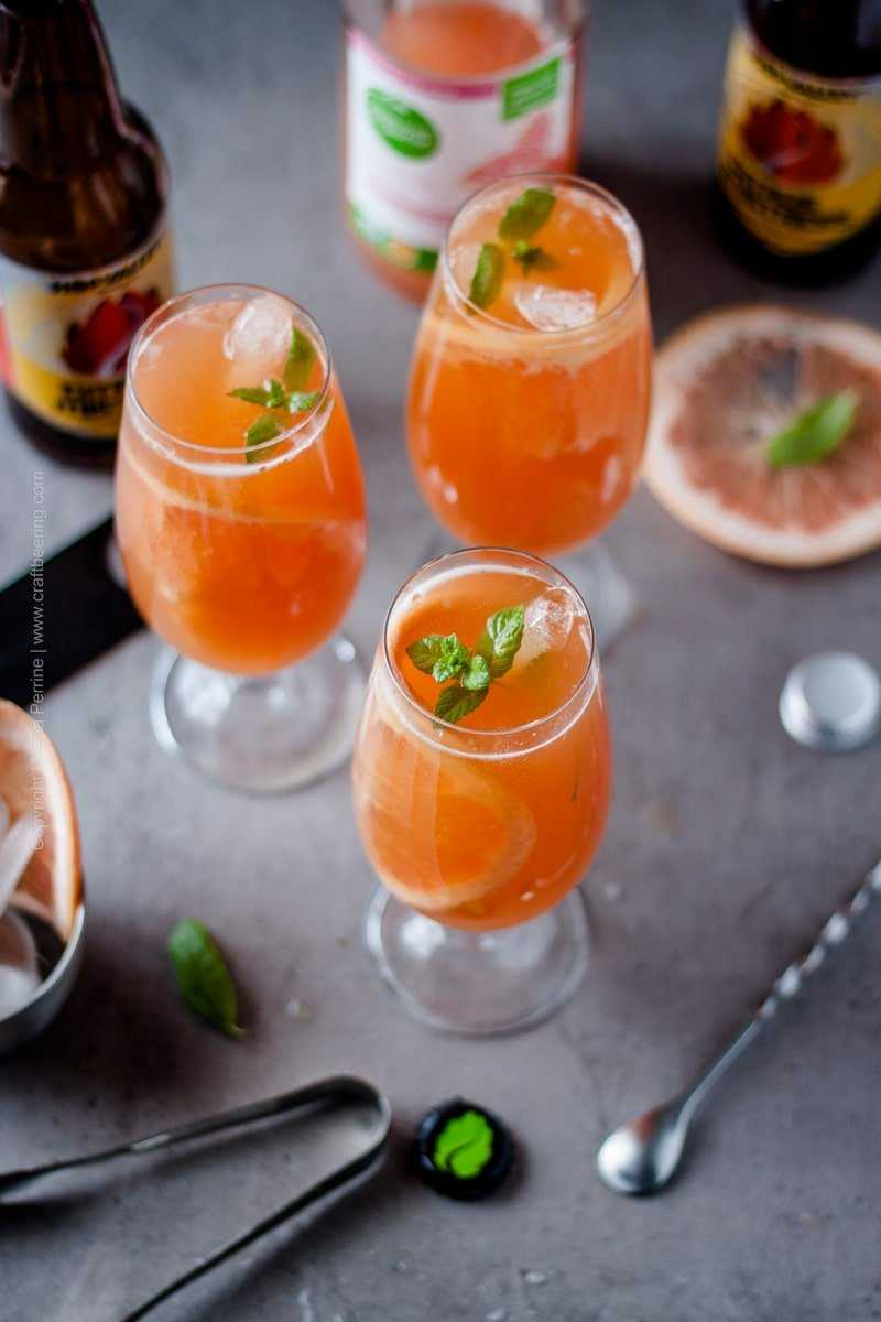 Top view shot of glasses filled with grapefruit beer shandy and garnished with fresh mint and grapefruit slices.