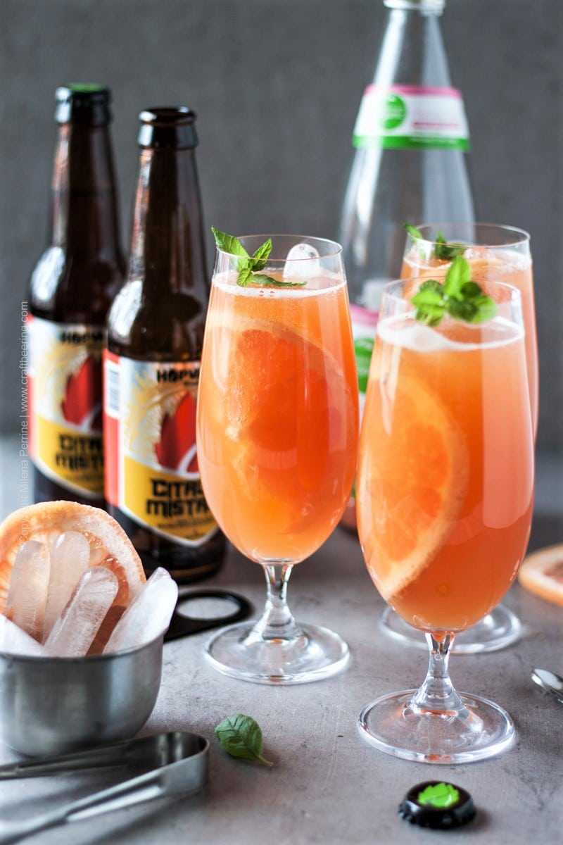 Grapefruit beer shandy filled glasses.