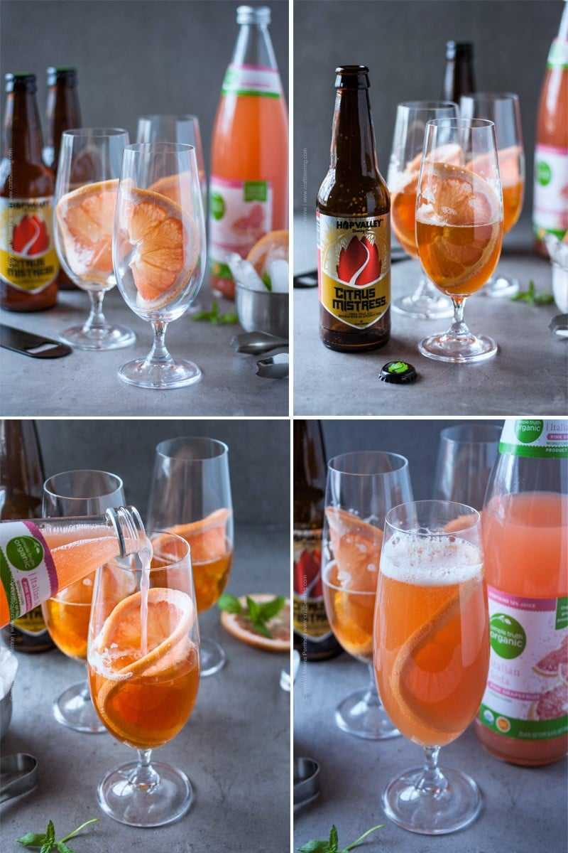Steps to making the perfect grapefruit beer shandy.
