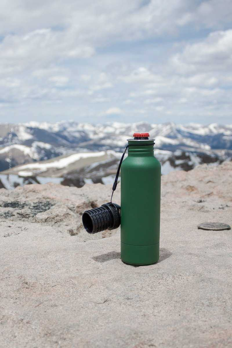 BottleKeeper beer bottle koozie on top of Mount Evans