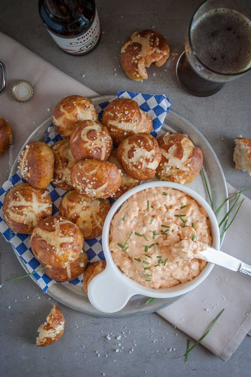 Obatzda German soft cheese dip with Camembert and a splash of dunkel lager for even more robust flavors. Traditionally served with pretzels or fresh veggies. Beer garden food at its finest.