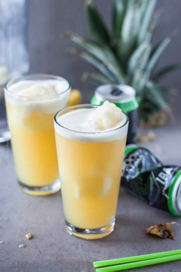 Pineapple Slushie with Juicy IPA | Semi frozen drink perfect for hot summer days.