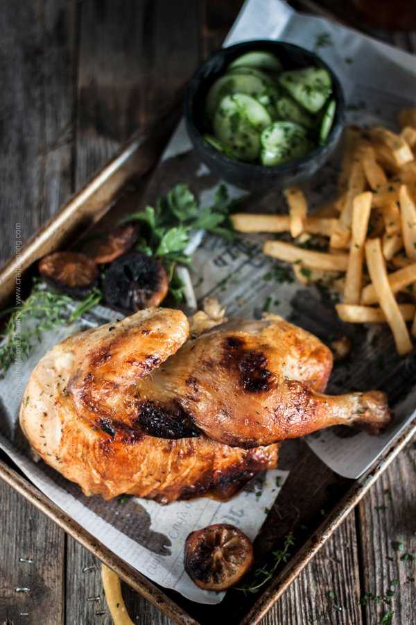 Half roast chicken is a classic Oktoberfest offering and beer garden menu item. Juicy meat, crispy skin, served with fries and Gurkensalat.